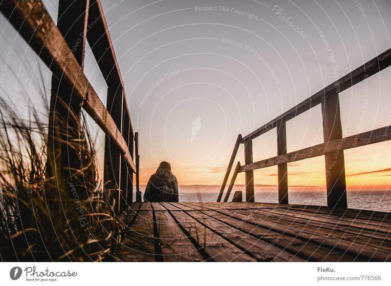 Nordsee-watching Ferien & Urlaub & Reisen Ausflug Ferne Freiheit Sommerurlaub Strand Meer 1 Mensch Umwelt Landschaft Himmel Sonnenaufgang Sonnenuntergang