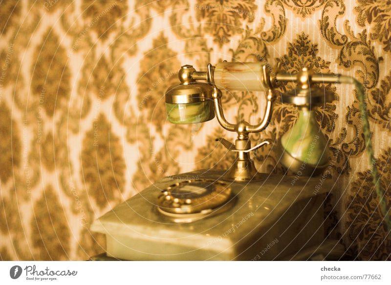 oldscool phone Tapete Telefon alt gold Vergangenheit altes telefon goldenes telefon Telefonhörer Telekommunikation Telefongespräch Tapetenmuster Wählscheibe