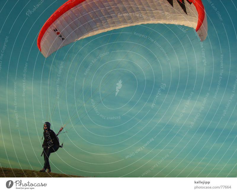 abgehoben Himmel Sport springen Luft fliegen Beginn Freizeit & Hobby Flugzeuglandung Gleitschirmfliegen Fallschirm Rucksack Funsport Flugsportarten