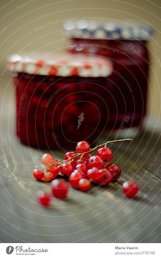 Mach mal Marmelade Maria 4 rot Lebensmittel Frucht Ernährung süß Frühstück Schalen & Schüsseln Beeren saftig Holztisch selbstgemacht Johannisbeeren Einmachglas