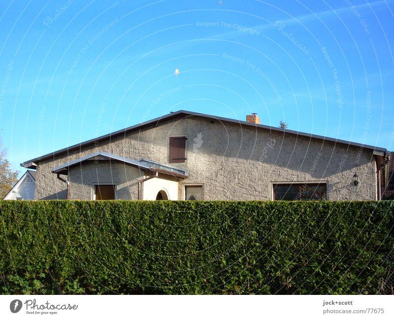verstecktes Haus (spuken) blau grün Fenster Umwelt Wand Stil Holz Stein oben Idylle Häusliches Leben Glas Perspektive Fröhlichkeit geschlossen Baustelle