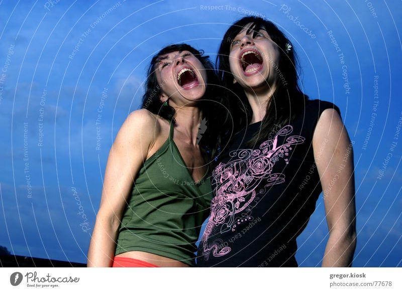 I wanna scream! verrückt grinsen dumm Mensch Porträt Himmel springen offen silly funny lustig two Frau big open screech shriek yell mad freeze picture stehen