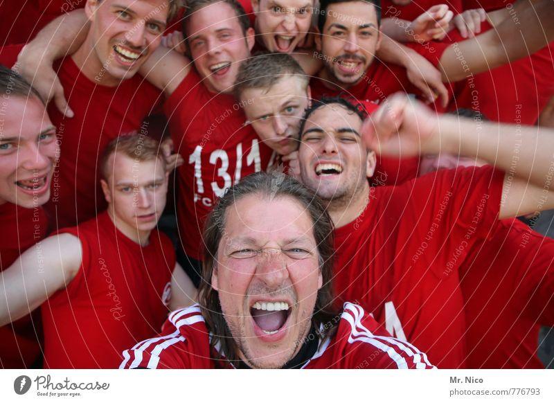 usie rot Freude Gesicht Gefühle lachen Glück außergewöhnlich Feste & Feiern Menschengruppe maskulin Lifestyle Kraft Zufriedenheit Erfolg authentisch verrückt