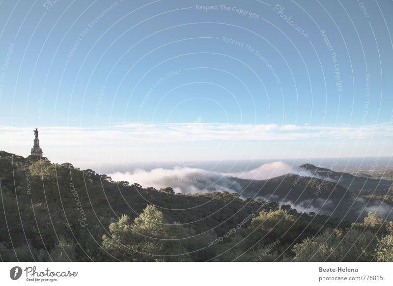 Weitsicht Himmel blau grün weiß Sommer Sonne Baum Landschaft Ferne Wald Stimmung Felsen Nebel Schönes Wetter Aussicht Gipfel