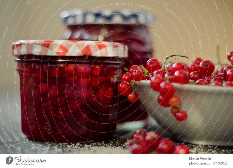 Mach mal Marmelade Maria 2 rot Lebensmittel Frucht süß lecker Frühstück Schalen & Schüsseln saftig Zucker selbstgemacht Johannisbeeren Einmachglas