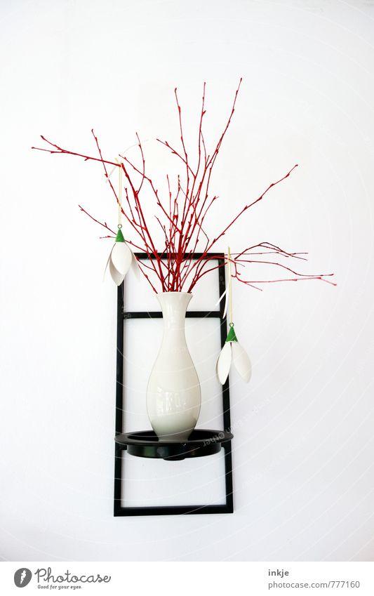 Frühlingsdeko Lifestyle Design Häusliches Leben Dekoration & Verzierung Sommer Ast Zweige u. Äste Maiglöckchen Blumenvase Vase hängen dünn schön lang rot