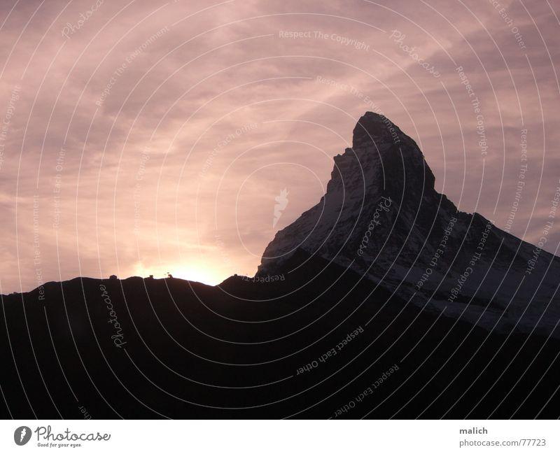 Matterhorn Sunset Kanton Wallis Zermatt Schweiz Sonnenuntergang Berge u. Gebirge Himmel Abenddämmerung