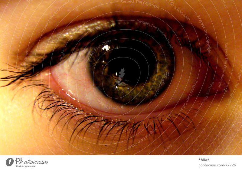 nicht blinzeln! Frau schön grün rot Gesicht Auge dunkel Traurigkeit Trauer beobachten Publikum Wimpern Gefäße rechts