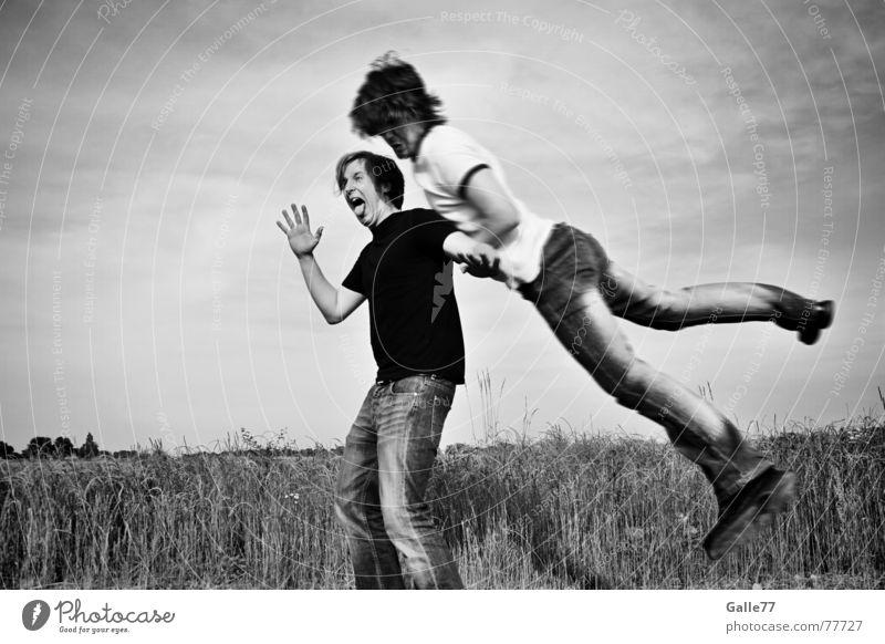sprunghaft Mensch Hand Bewegung springen Beine Kunst Fuß Tanzen Zusammensein Arme fliegen Luftverkehr Gesichtsausdruck Inszenierung Composing Präsentation