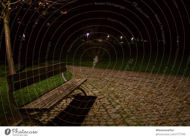 Leave me Einsamkeit dunkel Park Baum Wiese Herbst kalt November Waltershausen Bank leave Wege & Pfade kopfsteinplaster Schatten alleinstehend leer