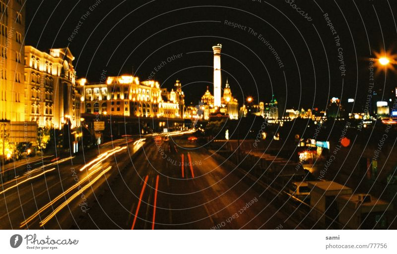 Shanghai 4 a.m. Straße PKW Nachtaufnahme Shanghai Singapore Pu Dong Kolonialviertel