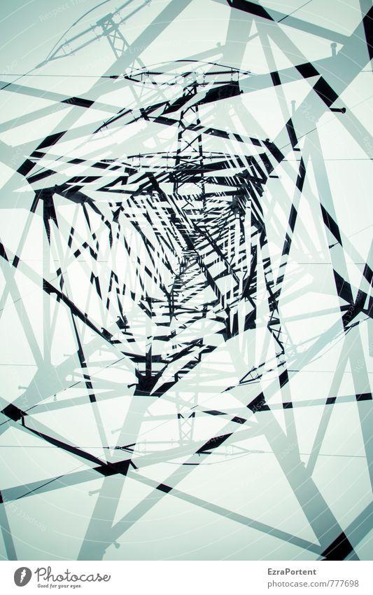 Chaos Technik & Technologie Energiewirtschaft Erneuerbare Energie Energiekrise Industrie Umwelt Natur Himmel Stadt Metall Stahl Linie ästhetisch blau schwarz