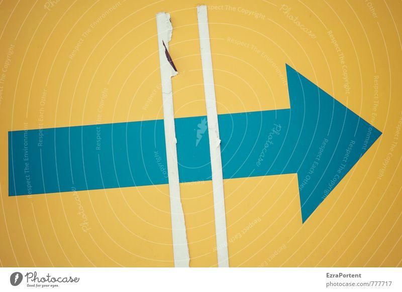 # > blau Farbe gelb Linie Design Schilder & Markierungen Hinweisschild Grafik u. Illustration Zeichen Ziel Pfeil graphisch rechts Warnschild