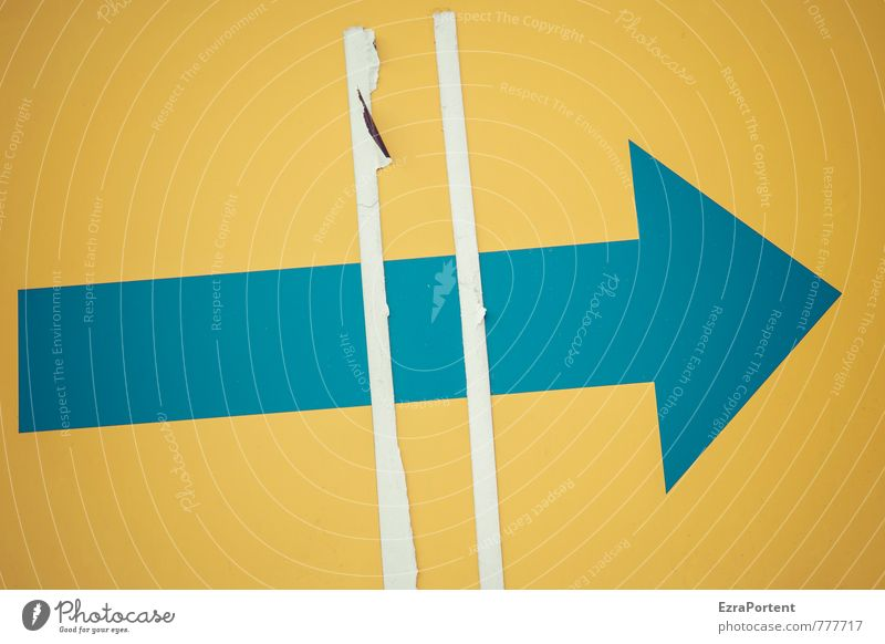 # > Zeichen Schilder & Markierungen Hinweisschild Warnschild Linie Pfeil blau gelb Design Farbe Ziel richtungweisend Richtungswechsel rechts