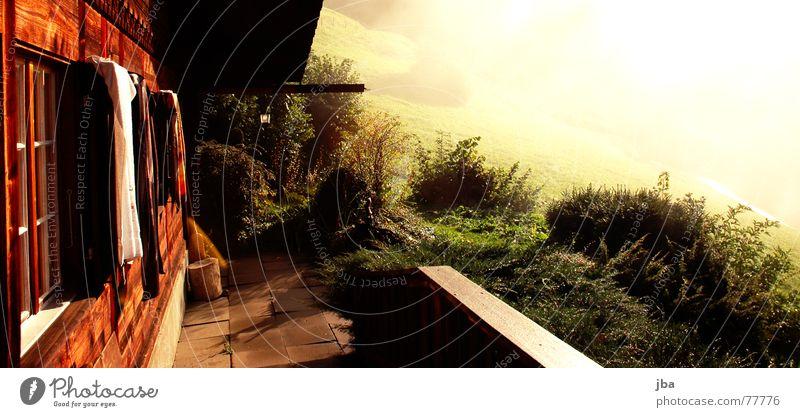 Nussi Veranda Sträucher Fensterladen Sonnenaufgang Durchbruch Morgennebel Haus Balkon Gras Holz Wand Dach Nebel Ferien & Urlaub & Reisen Herbst Häusliches Leben