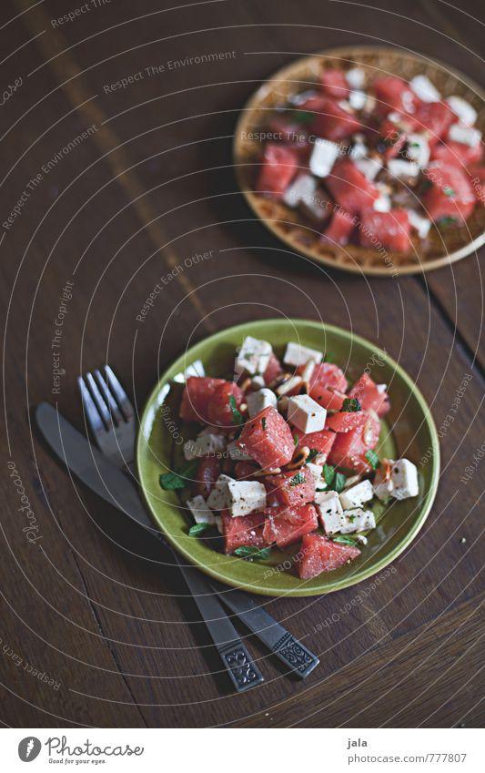 melonensalat Gesunde Ernährung natürlich Gesundheit Lebensmittel Frucht frisch lecker Appetit & Hunger Bioprodukte Geschirr Teller Messer Mittagessen Salat