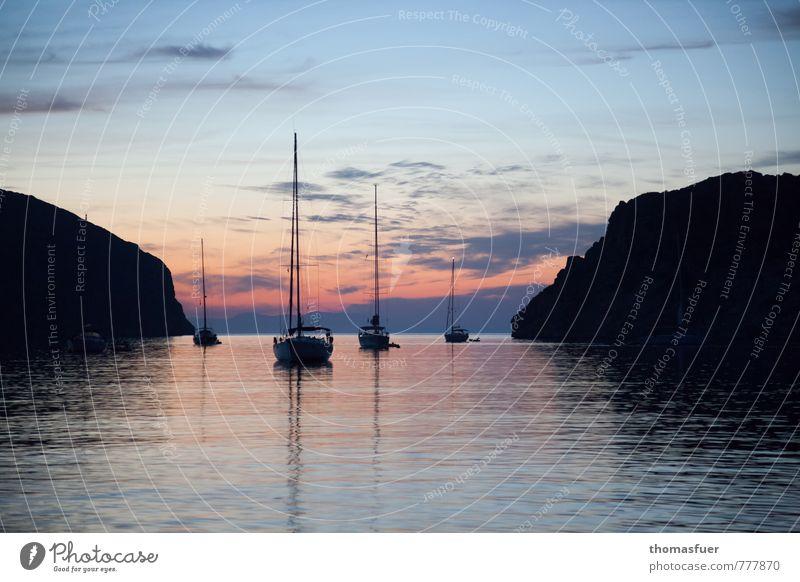 Segelboote, Bucht, Sonnenuntergang, Klippen Ferien & Urlaub & Reisen Tourismus Ausflug Ferne Freiheit Kreuzfahrt Sommer Sommerurlaub Strand Meer Insel Wellen