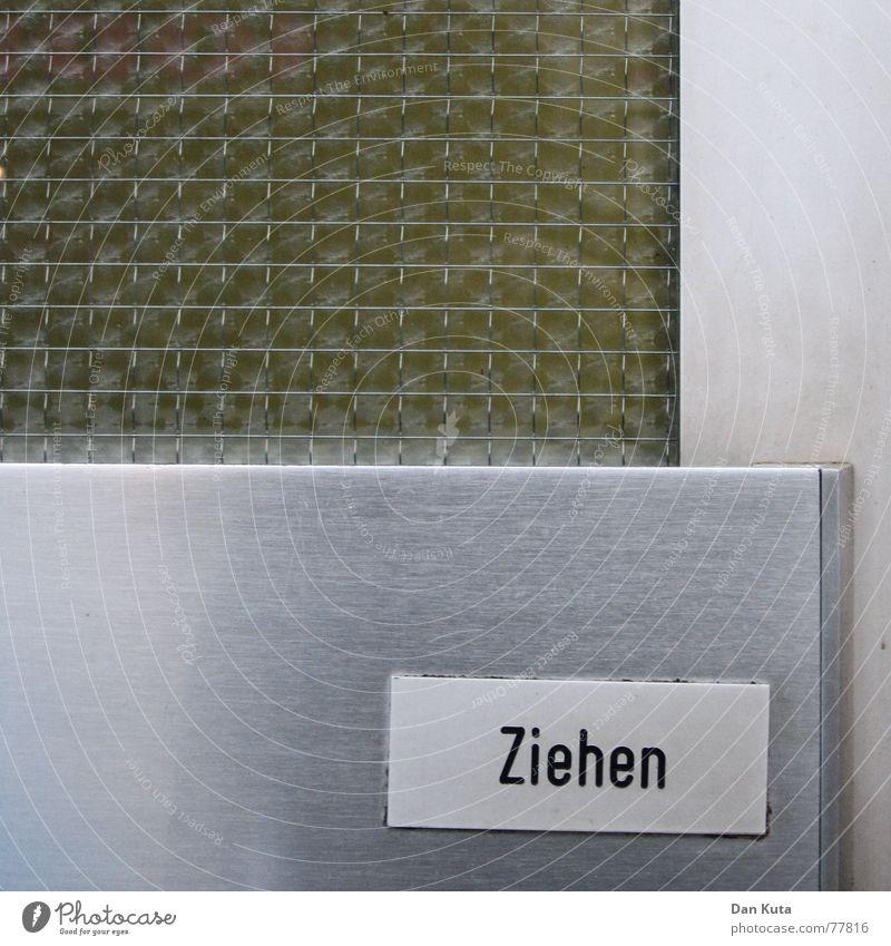 Hereinspaziert grün Metall Tür Glas Schilder & Markierungen Eingang Siebziger Jahre ziehen aufmachen Eingangstür Plakette Vorstadt Riffelglas