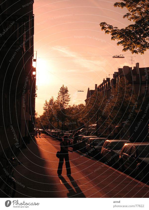 münchen in rosa Stadt Häuserzeile Bürgersteig Haus Gebäude Frau stehen Straße PKW Sonne Abend Himmel Mensch Schatten Silhouette Blick