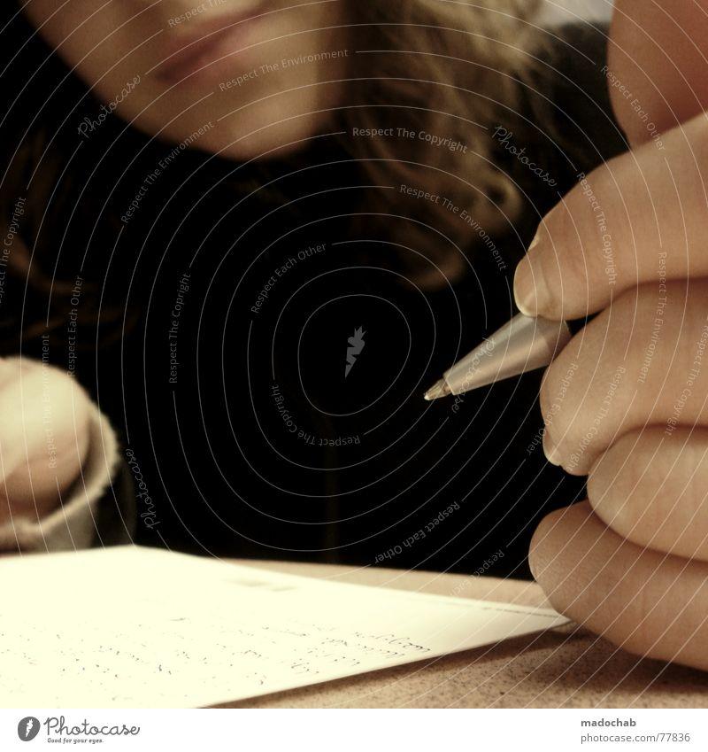 POSTCARD - Kontakt Schreiben Stift Kommunikation Mensch Frau Hand Erwachsene Denken Schule Schriftzeichen Mund Kommunizieren Finger lernen Studium