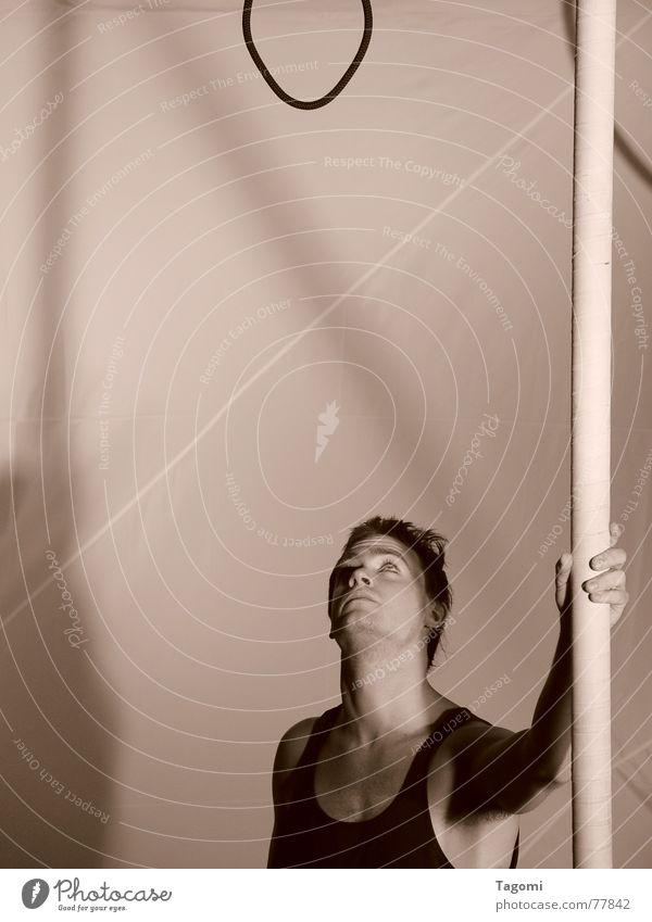 Should I ...? Mensch Mann Turner Turnen Artist Show Bühne Seil Stab Hand Kunst stark schwarz weiß Verantwortung Leben Selbstmord Verlierer verlieren verloren