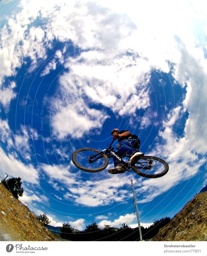 Touchthesky Himmel blau Baum Wolken Tod Gras springen braun Schuhe Fahrrad Coolness Unfall himmelblau hell-blau