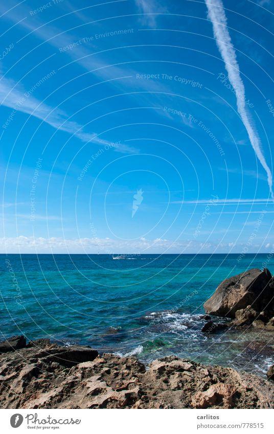 Ich hab das Meer gefunden Himmel Natur Ferien & Urlaub & Reisen blau grün Wasser Sommer Erholung Ferne Umwelt Wärme Küste Wasserfahrzeug Felsen Horizont