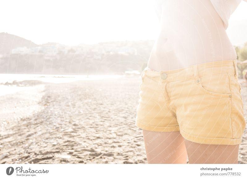 Hip teens don't wear blue jeans Mensch Ferien & Urlaub & Reisen Sommer Sonne Meer Erholung Strand Erotik gelb feminin Küste Stil hell elegant stehen Bucht