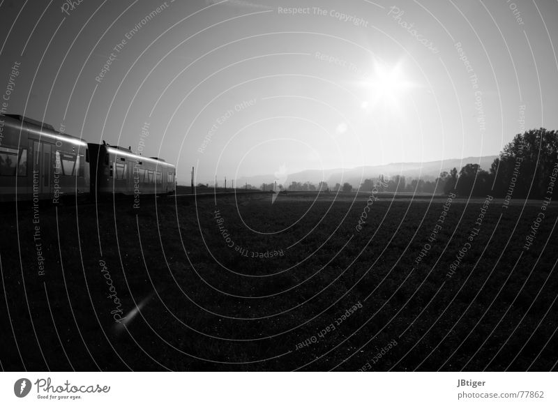 Lautlos Eisenbahn Zugabteil Feld Wiese Morgen Schwarzweißfoto Baum Nebel frisch ruhig Ammertal Sonne Seil Landschaft