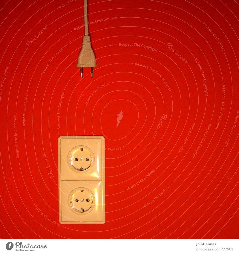 Anschluss gesucht rot Tapete Steckdose Stecker Elektrizität elektrisch Elektromonteur abweisend Flirten Raufasertapete Partnerschaft Kontaktperson Buchse
