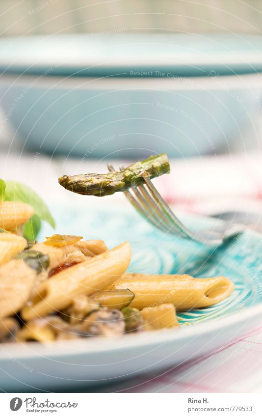 Heute gibt es Pasta Gemüse Teigwaren Backwaren Ernährung Vegetarische Ernährung Italienische Küche Teller Schalen & Schüsseln Gabel hell lecker genießen Spargel