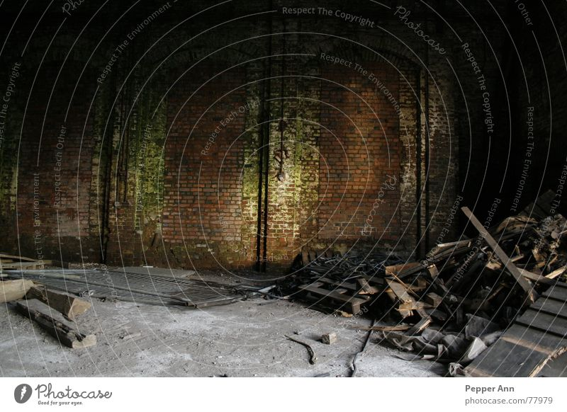 lost n´ Müll Fabrikhalle verrotten dunkel Bauschutt Beton Steinmauer Backstein Holz Licht Lichteinfall grün braun grau unheimlich dreckig Lagerhalle alt