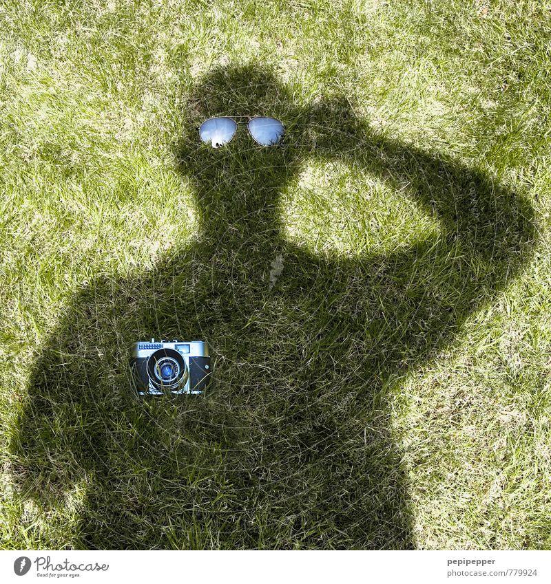 undercover Mensch Mann grün Sommer Freude schwarz Erwachsene Wiese Gras außergewöhnlich Garten Kunst Freizeit & Hobby beobachten Kreativität Idee