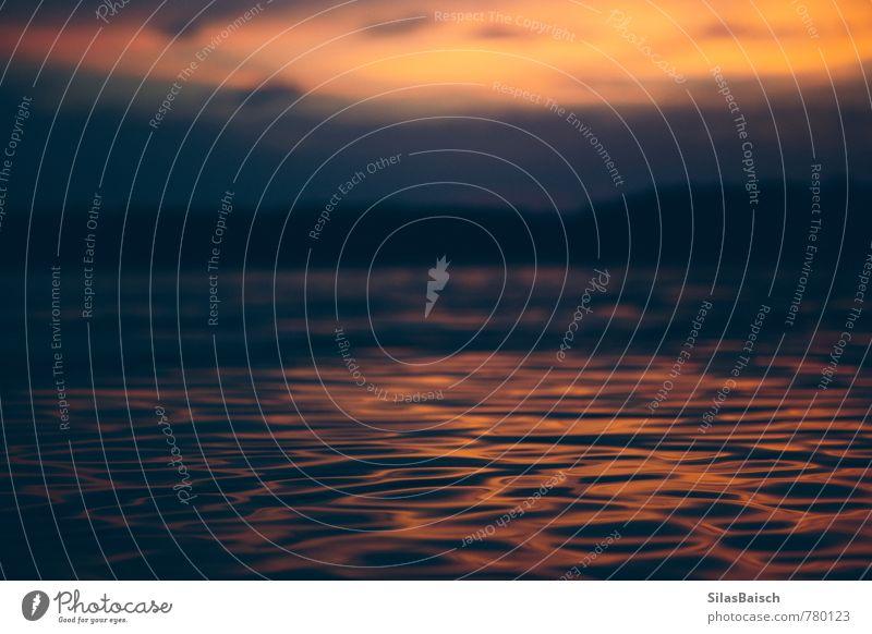 Let me walk upon the waters Umwelt Natur Landschaft Wasser Sonnenaufgang Sonnenuntergang Sommer Wellen Seeufer Fluss leuchten orange Reinlichkeit Sauberkeit