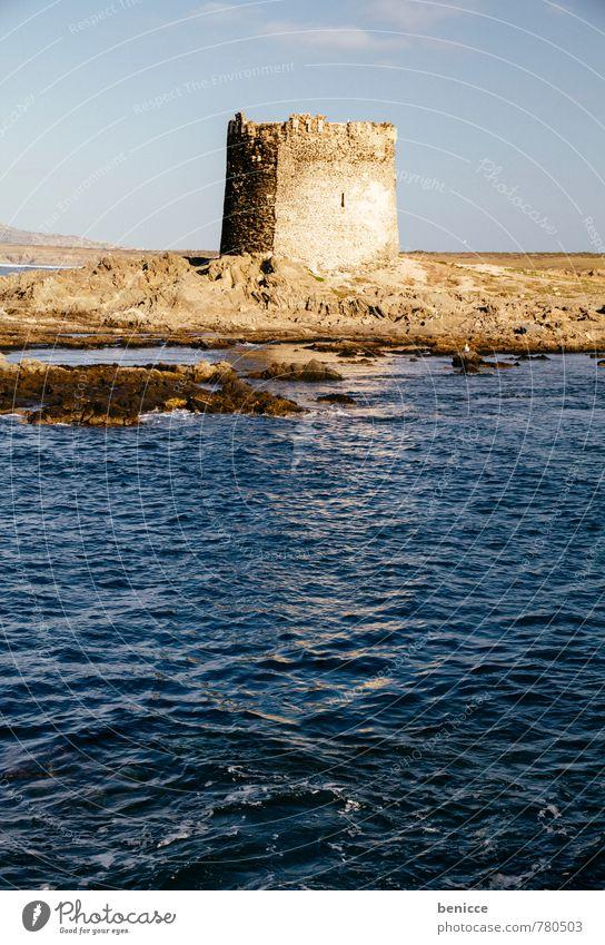 Turm in Stintino, Sardinien, Italien Ferien & Urlaub & Reisen Strand Reisefotografie Architektur Gebäude Tourismus Europa Turm Italien Sehenswürdigkeit Sandstrand Tourist Aussichtsturm Sardinien Alghero