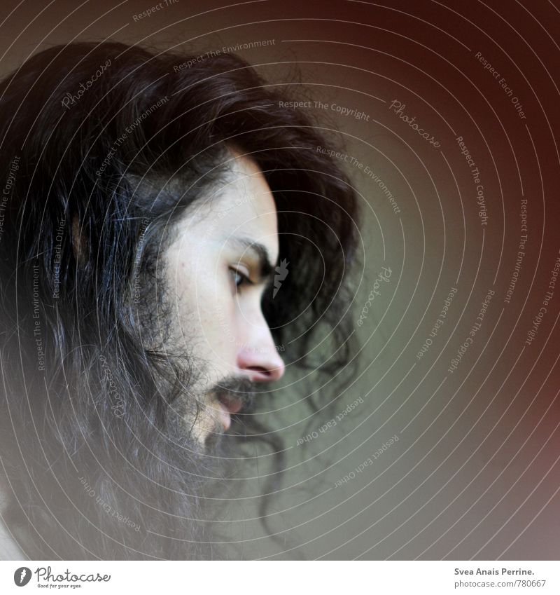 . maskulin Mann Erwachsene Haare & Frisuren Gesicht 1 Mensch 18-30 Jahre Jugendliche schwarzhaarig brünett langhaarig Locken außergewöhnlich schön einzigartig