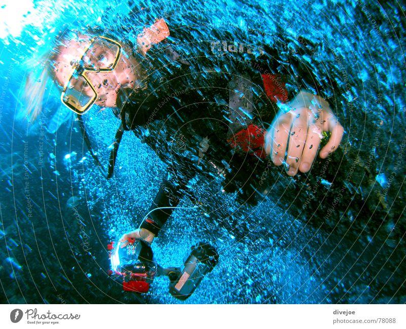 Blubber Taucher Wasser Meer blau Luft tauchen Ägypten Dahab Rotes Meer