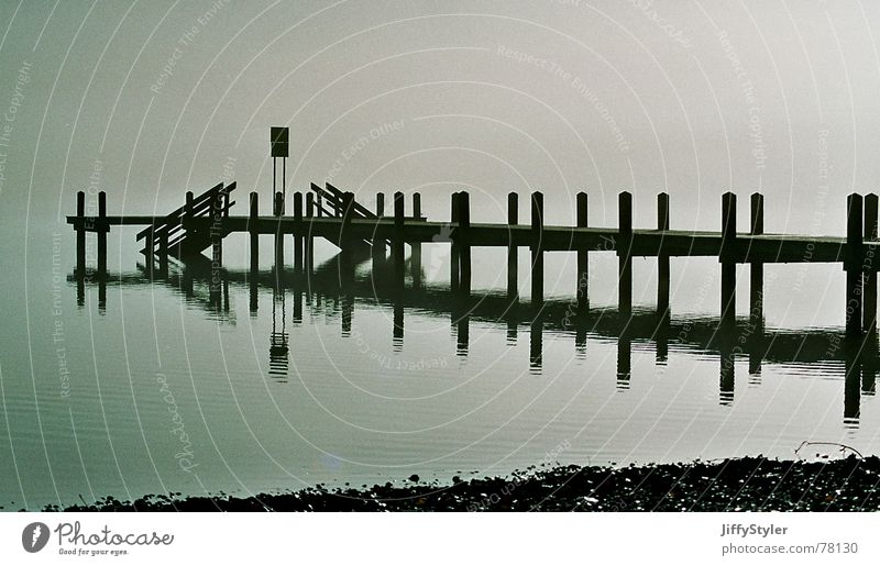 Nebelsteg Natur Wasser Einsamkeit See Landschaft leer Steg