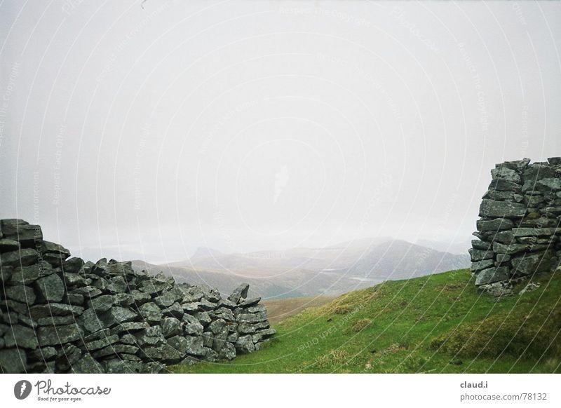 Westnorwegen Steinmauer Nebel Norwegen Küste Einsamkeit Ferne Wiese kalt Hügel Menschenleer Außenaufnahme