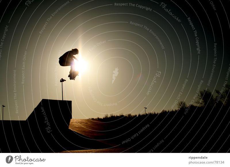 transfer ollie Sonne Sport Aktion Skateboarding extrem