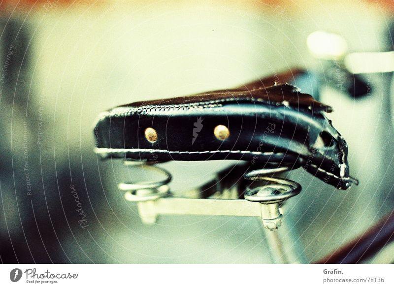 Zerschlissen Leder Fahrrad schwarz Fahrradsattel alt gebraucht cross canon Reflexion & Spiegelung