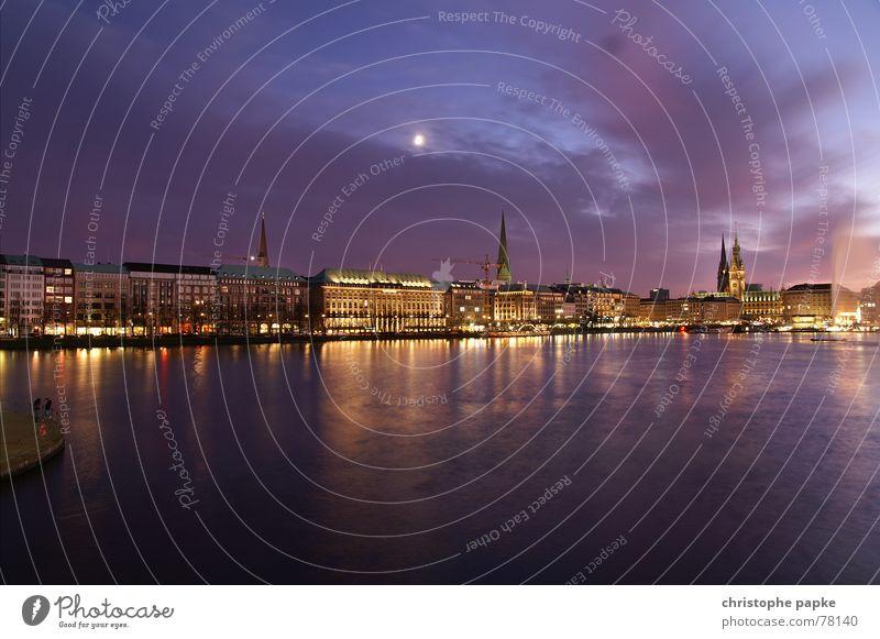 Hamboich meine Perle Wasser Himmel Stadt Ferien & Urlaub & Reisen Wolken Deutschland Hamburg Ausflug Nacht Romantik Kitsch Skyline Mond historisch Seeufer