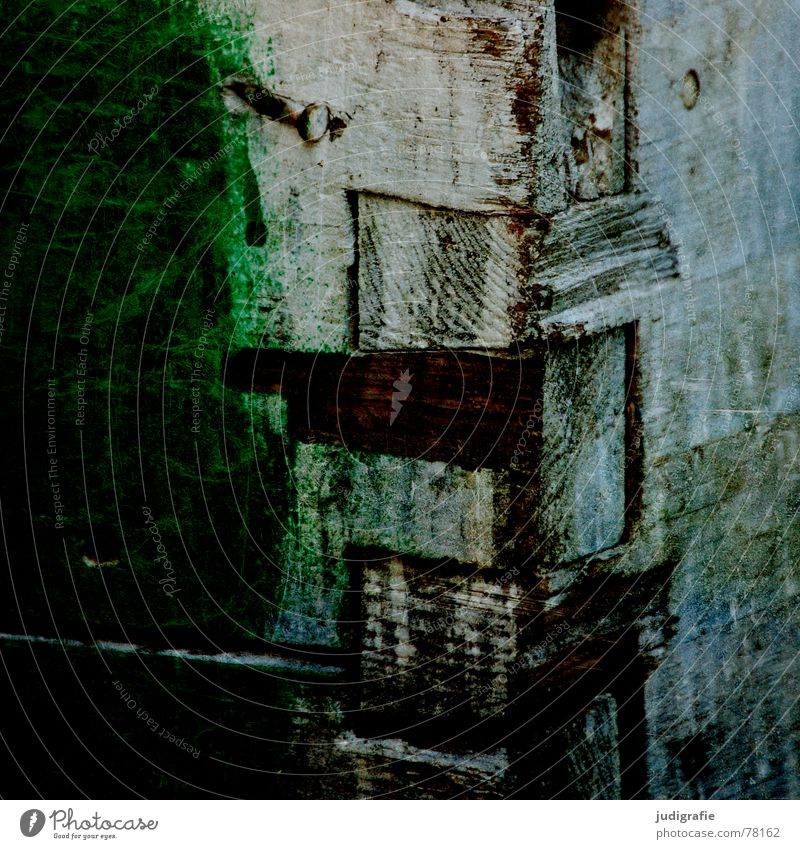 Verbunden alt grün Farbe Holz Linie Ecke Teile u. Stücke Kasten Handwerk Werkstatt Holzbrett Material Kiste Nagel Lack Verbundenheit
