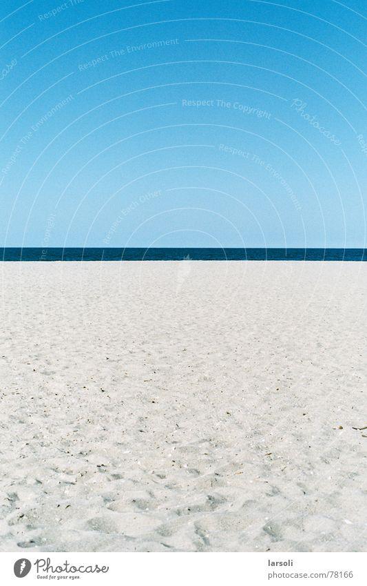 Strand in Tauranga Himmel Meer blau Ferien & Urlaub & Reisen Sand Horizont Streifen Fußspur Neuseeland