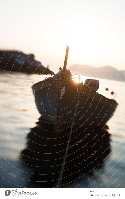 Im Abendlicht schaukeln Ferien & Urlaub & Reisen Ausflug Sommerurlaub Meer Cinque Terre Italien Ligurien Urelemente Wasser Himmel Sonne Sonnenaufgang