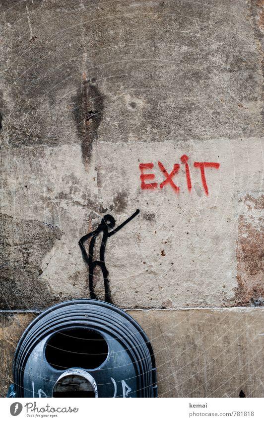 Exit Kunst Subkultur Mauer Wand Müllbehälter Zeichen Schriftzeichen Graffiti außergewöhnlich rund verrückt rot schwarz Strichmännchen Ausgang Öffnung Loch