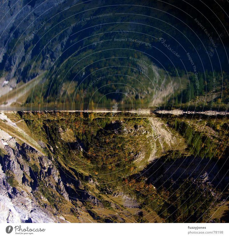 von den blauen bergen Lac de Tseuzier Kanton Wallis Schweiz Europa See Stausee Staumauer grün Reflexion & Spiegelung Hügel Ferien & Urlaub & Reisen Umweltschutz