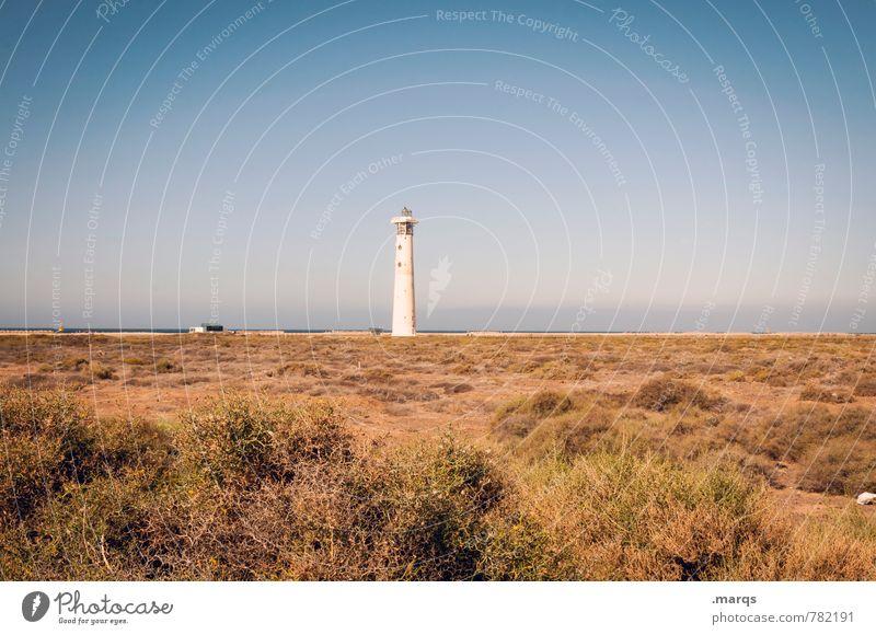  Umwelt Natur Landschaft Urelemente Wolkenloser Himmel Horizont Sommer Klima Schönes Wetter Wärme Sträucher Küste Leuchtturm einfach schön Erholung Idylle