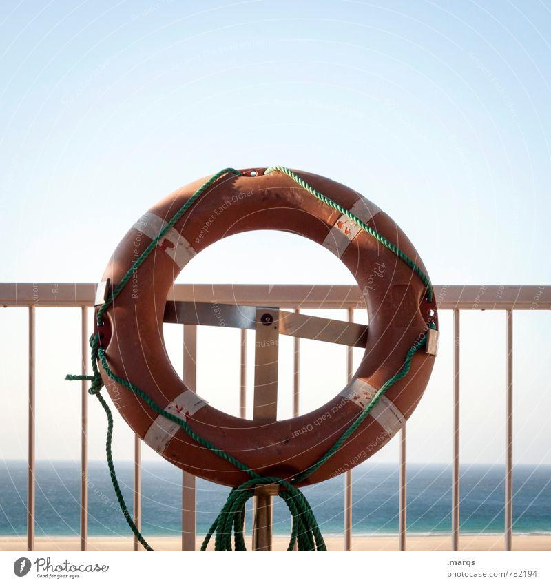 Rescue Me Wassersport Wolkenloser Himmel Horizont Sommer Schönes Wetter Geländer Rettungsring Zeichen einfach Stimmung Hilfsbereitschaft Sicherheit Angst