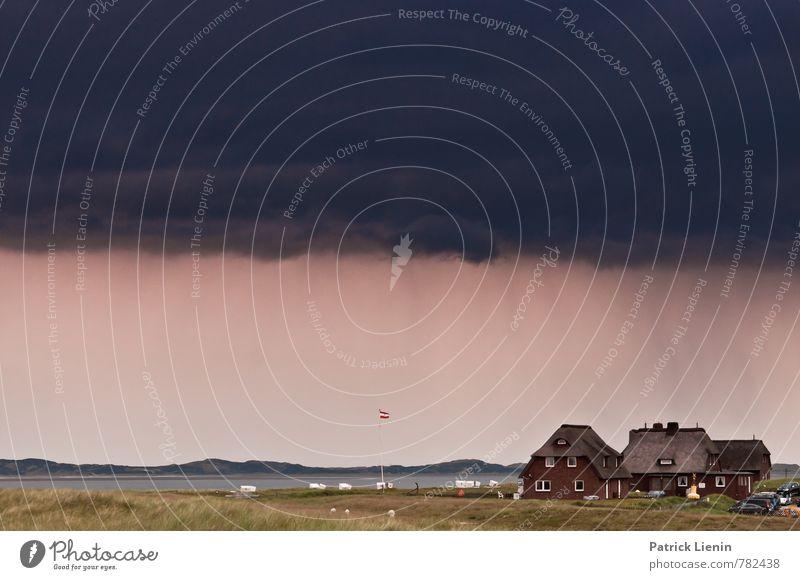 Sturm auf Sylt Himmel Natur Sommer Meer Landschaft Wolken Haus Ferne Umwelt Freiheit Regen Wetter Tourismus Luft Wind gefährlich